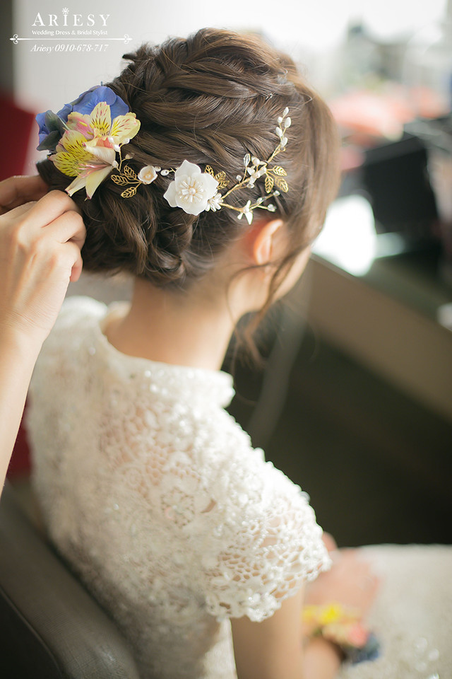 敬酒造型、鮮花編髮、韓風髮型、新娘髮型、台北新秘