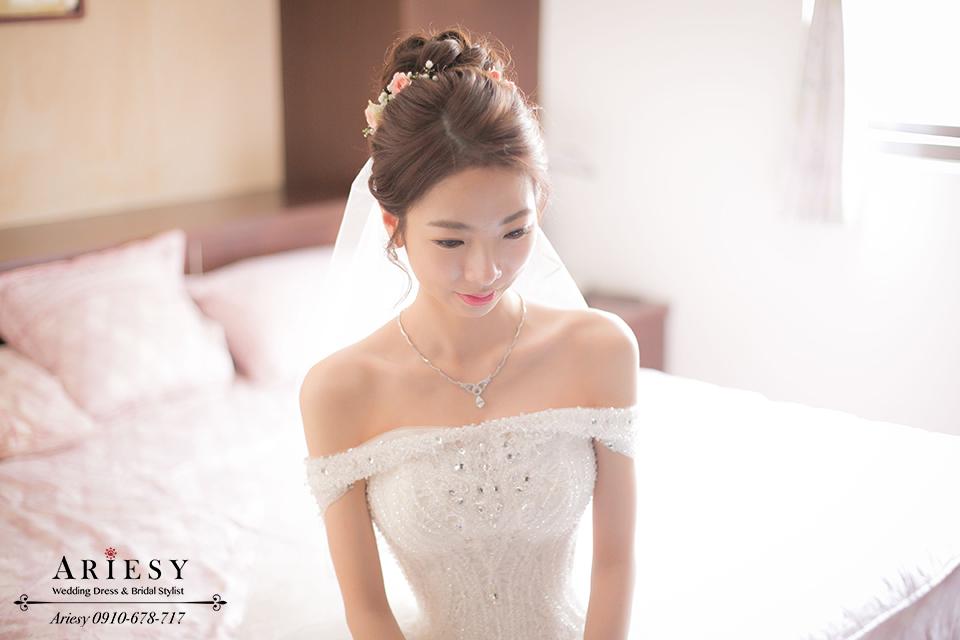 白紗造型、鮮花編髮、韓風髮型、新娘髮型、新秘作品