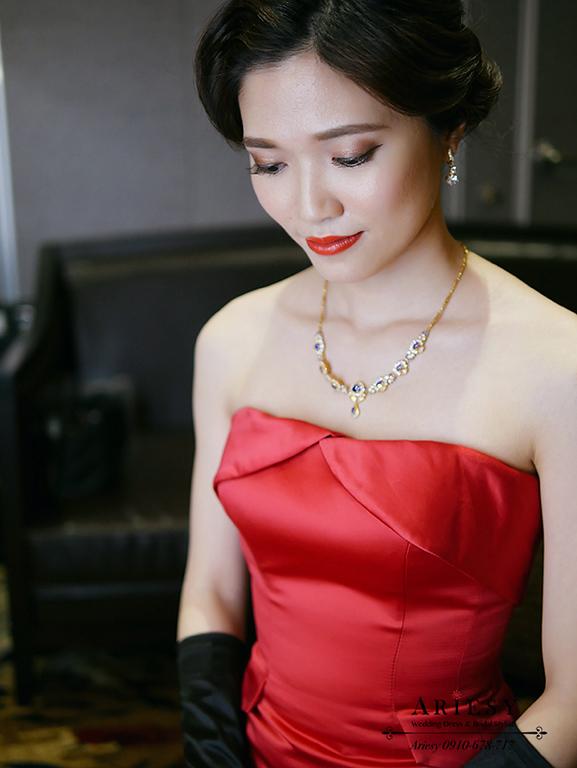 復古新娘造型,指推新娘髮型,愛瑞思,ARIESY,紅色禮服造型,新娘髮型
