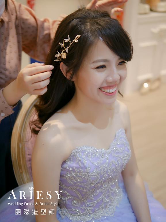 敬酒造型,新秘推薦,新娘放髮造型,粉紫色禮服造型,黑髮新娘