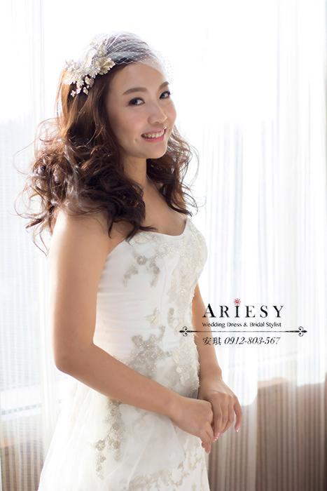 Ariesy造型團隊,歐美新秘,台北新娘秘書,鮮花造型,復古水波紋造型