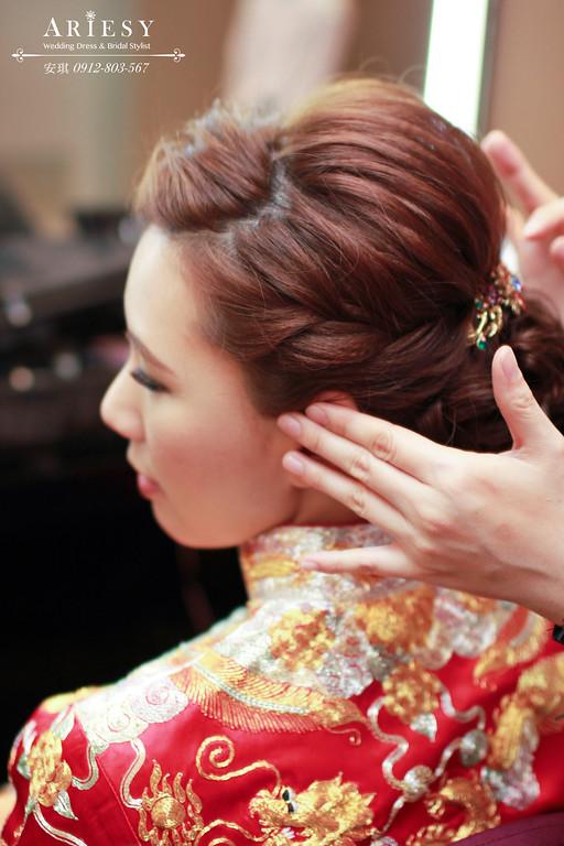 Ariesy造型團隊,歐美新秘,台北新娘秘書,鮮花新娘造型,低盤髮