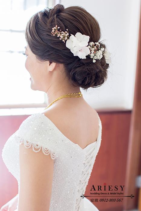 歐美新秘,編髮造型,低盤髮,鮮花造型,馬尾造型