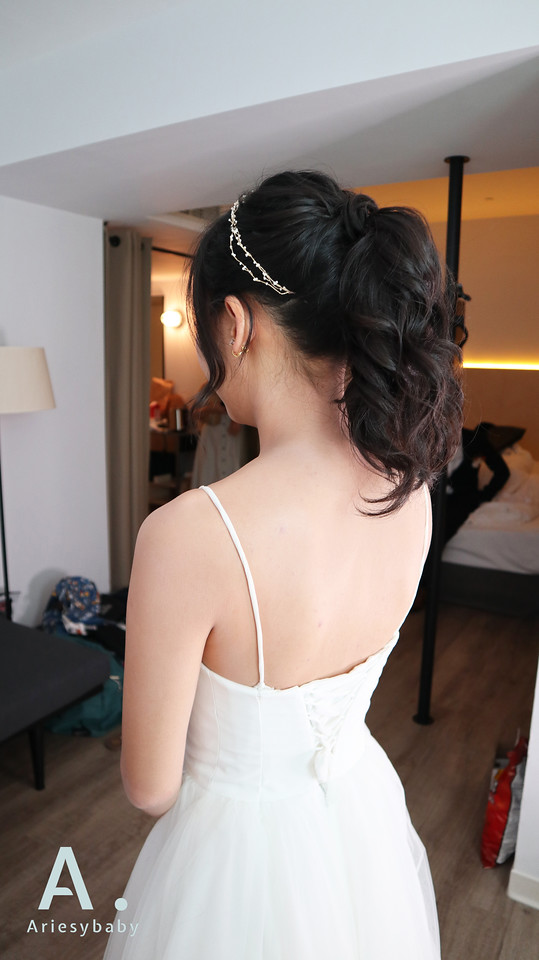 Ariesybaby造型團隊,清新自然妝感,台北新秘,新娘秘書,馬尾造型,黑髮新娘造型