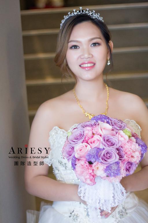 新娘秘書,新秘造型,自然清透妝感,短髮造型,高包頭造型