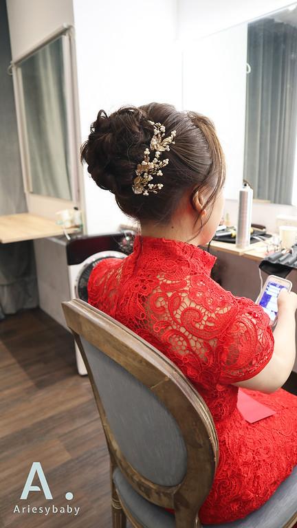 新秘,新娘秘書,新娘造型,紅色禮服,Ariesybaby造型團隊,自然清透妝感