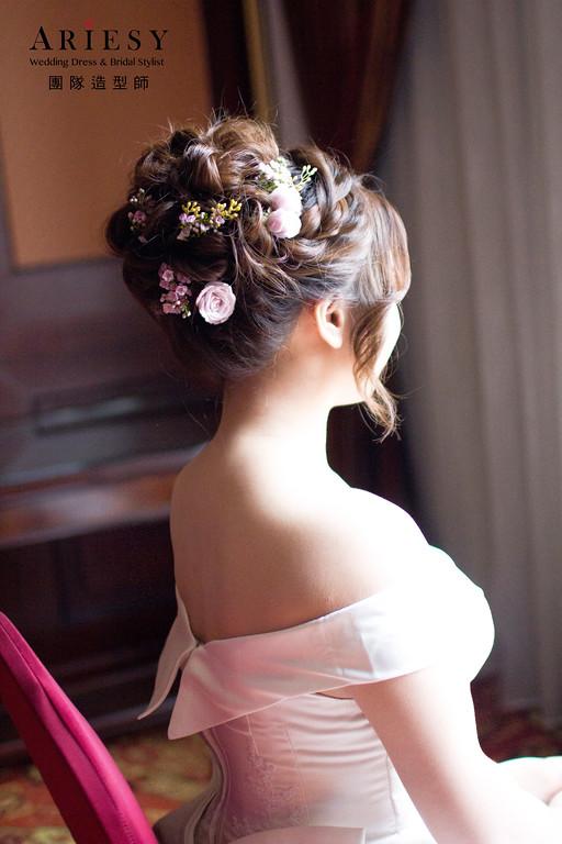Ariesy造型團隊,丸子頭,台北新娘秘書,鮮花造型,歐美時尚線條