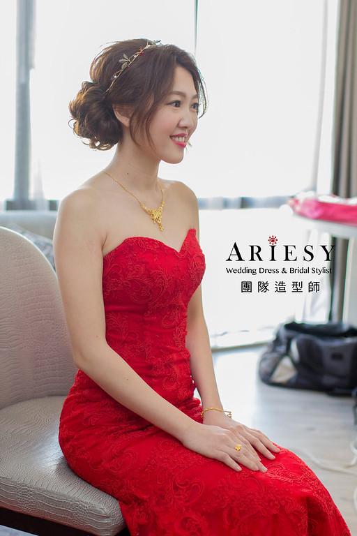 Ariesy造型團隊,俐落盤髮,鮮花造型,白紗髮型,紅禮服造型