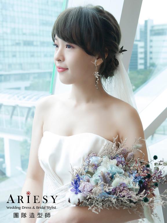 新秘、花藝新娘造型、編髮新娘造型、手作花耳環、新秘推薦