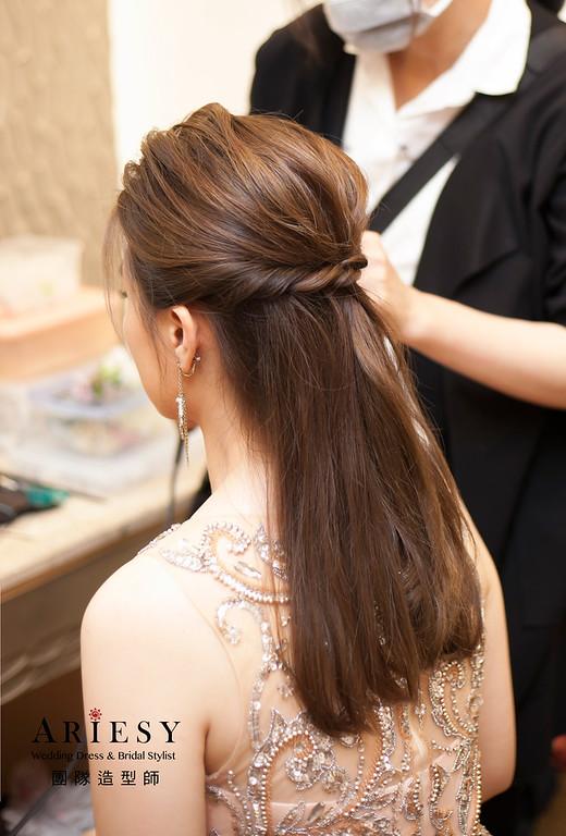 送客造型,時尚名媛髮型,台北新祕,新娘髮型,直髮造型