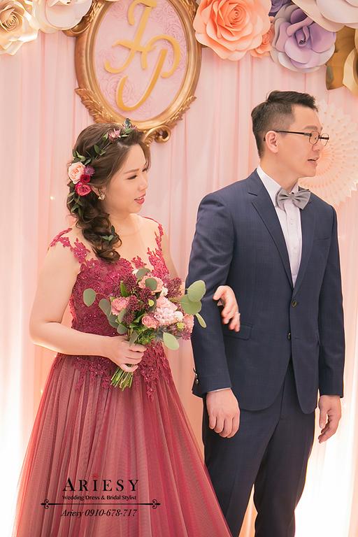 文定新娘造型,訂婚髮型,單眼皮新娘,中崙華漾大飯店,紅色禮服髮型,新娘秘書