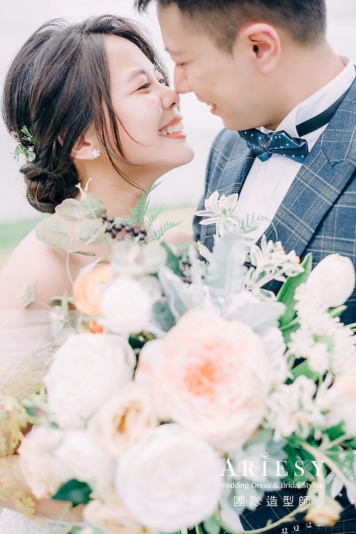 婚紗包套,黑髮新娘造型,新娘髮型,蓬鬆編髮,白紗造型,自然清透感妝,攝影師大嘴,新祕