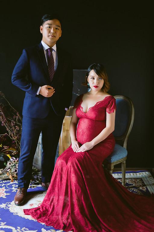 禮服出租,婚紗禮服工作室,新莊自助婚紗,手工婚紗,暗紅色孕婦晚禮服,孕婦寫真,全家福寫真