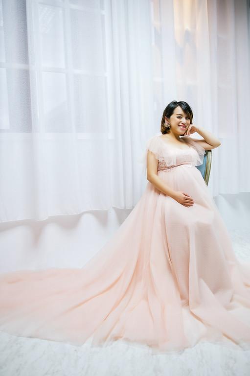 禮服出租,婚紗禮服工作室,新莊自助婚紗,手工婚紗,粉橘色荷葉袖甜美浪漫款,孕婦寫真,全家福寫真