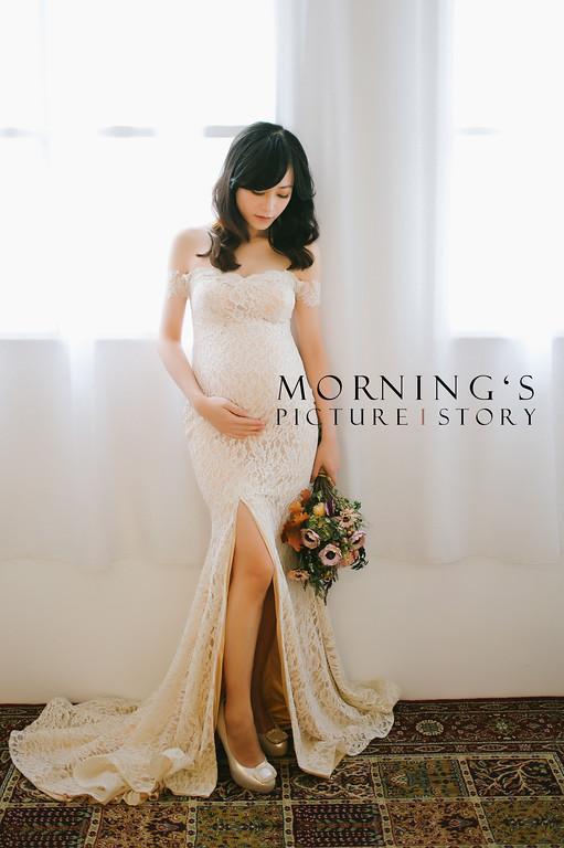禮服出租,婚紗禮服工作室,新莊自助婚紗,手工婚紗,魚尾開岔米白色禮服,孕婦寫真,全家福寫真,新秘Ariesy