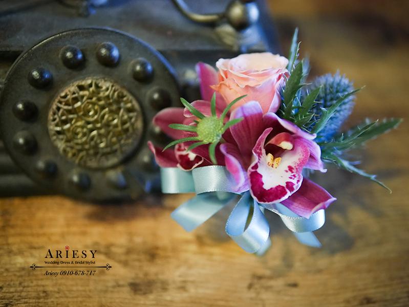 美式婚禮胸花,紅色胸花,主婚人胸花,新娘捧花,爸爸胸花