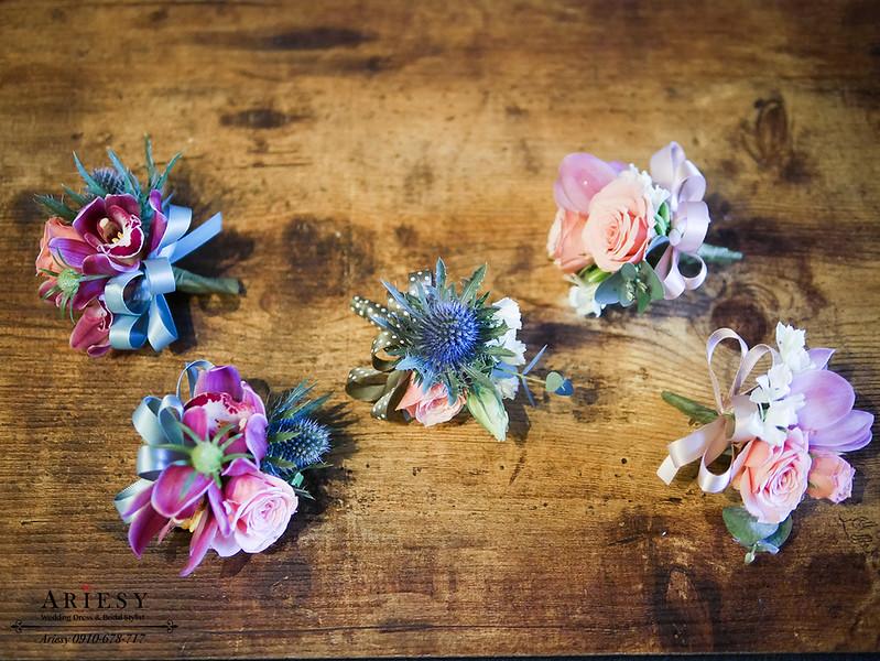 美式婚禮胸花,粉紅色胸花,主婚人胸花,新娘捧花,媽媽胸花