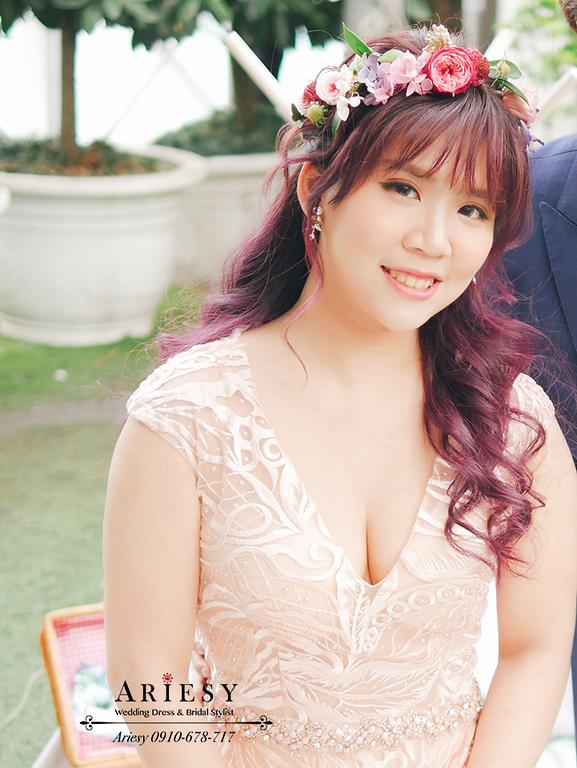 愛瑞思婚紗,亮片禮服敬酒造型,編髮造型,青青時尚