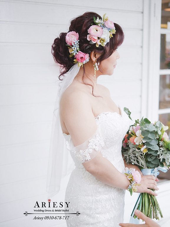 青青時尚,美式新娘秘書,台北新秘推薦,Ariesy,戶外婚禮新秘,鮮花造型