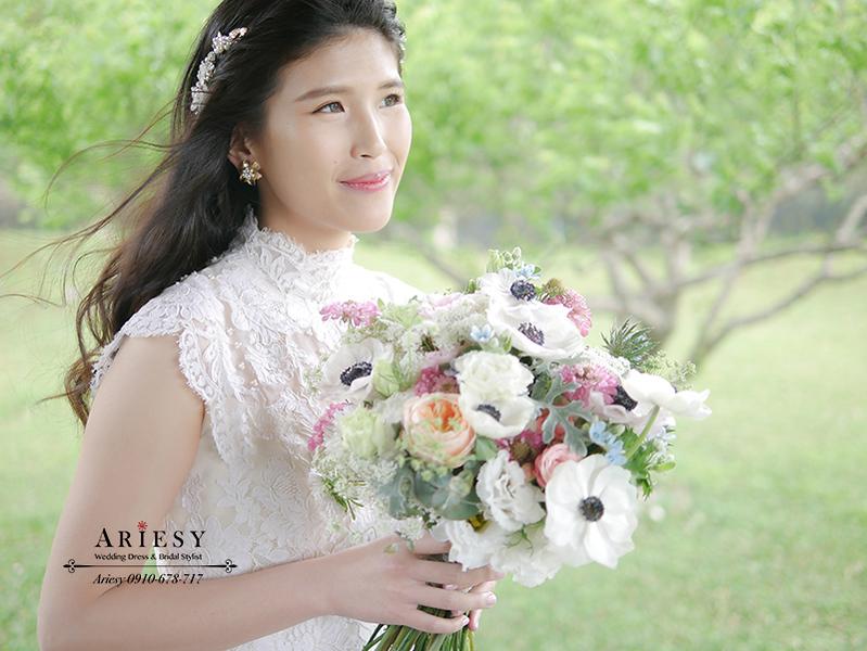骨董白紗,歐美風新娘,戶外婚禮,新娘捧花,美式婚禮,新秘