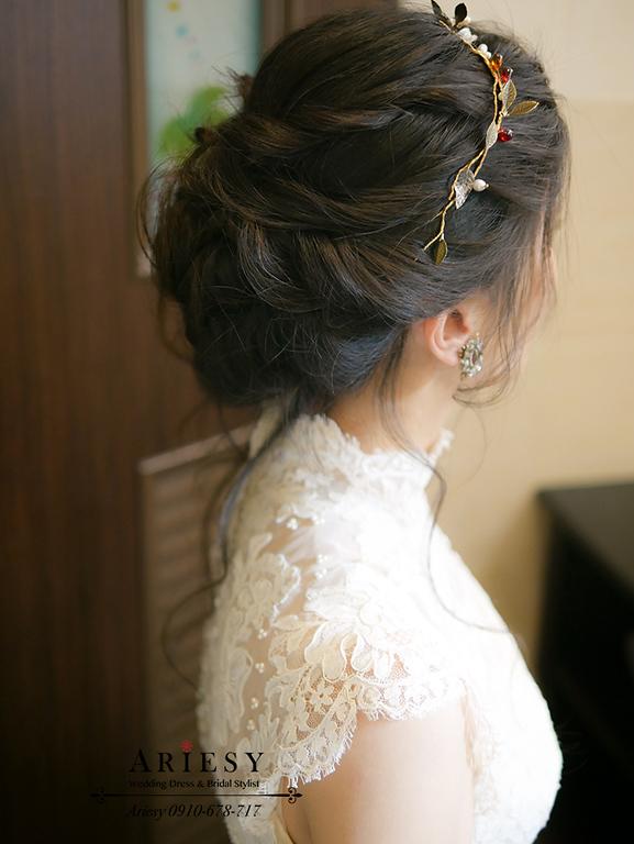 歐美盤髮,骨董白紗,歐美風新娘,戶外婚禮,新娘捧花,美式婚禮