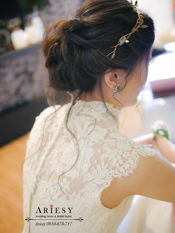歐美風自然捲黑髮盤髮,骨董白紗,歐美風新娘,戶外婚禮,新娘捧花,美式婚禮