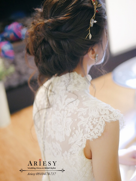 歐美風自然捲黑髮髮,骨董白紗,歐美風新娘,戶外婚禮,新娘捧花,美式婚禮