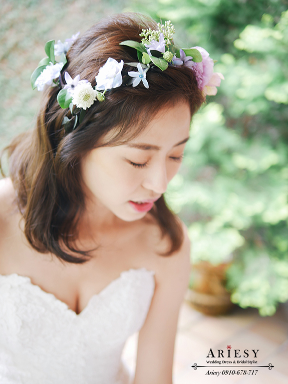 戶外婚禮,美式婚禮,美式新秘,新娘髮型,新娘造型,維多麗亞酒店,鮮花新秘,愛瑞思,ARIESY,短髮新娘