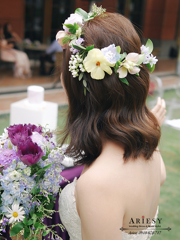 戶外婚禮,美式婚禮,美式新秘,新娘髮型,新娘造型,維多麗亞酒店,鮮花新秘,愛瑞思,ARIESY