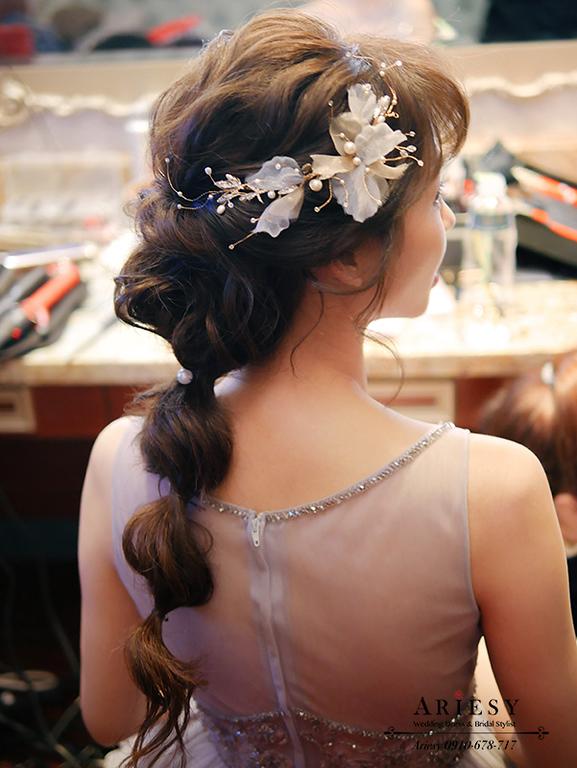 編髮造型,新秘推薦,新娘髮型,新娘造型,,短髮新娘維多麗亞酒店,韓風新娘,愛瑞思,ARIESY