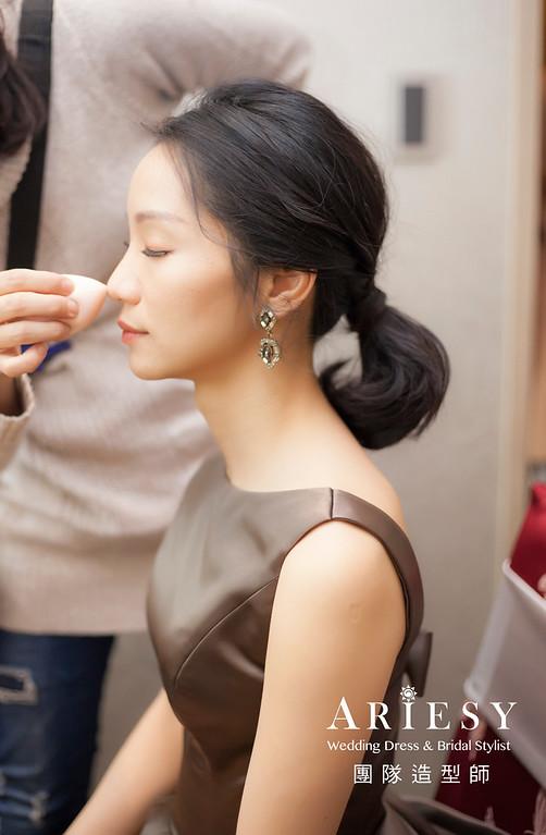 台北新祕,新娘秘書,新娘造型,黑髮新娘,短髮造型,蓬鬆編髮,馬尾造型,新祕推薦
