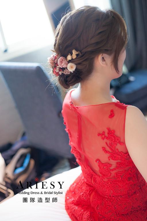 台北新祕,新娘秘書,推薦新秘,新娘造型,自然清透妝感,蓬鬆編髮,花藝飾品,新娘髮型,文訂造型