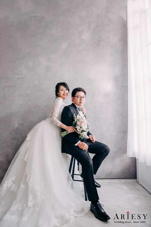 ARIESY手工婚紗,婚攝大嘴,愛瑞思新娘秘書團隊,新莊攝影工作室,長袖蕾絲美背白紗,秀和服婚紗,鳳掛造型