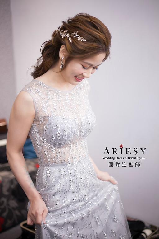 送客髮型,婚宴新娘造型,新娘造型,蓬鬆線條編髮,晚禮服造型,放髮造型