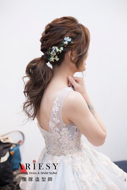 敬酒造型,編髮新娘造型,乾燥花花藝飾品,花藝新祕,新娘髮型,低馬尾造型