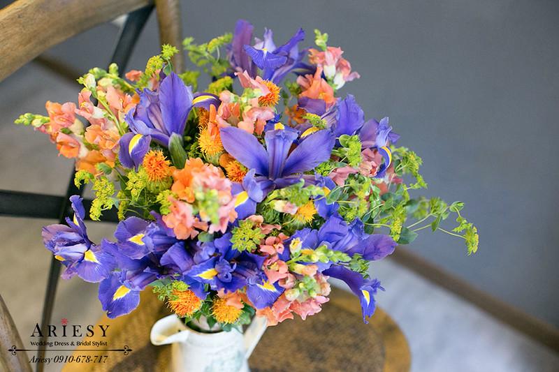 愛瑞思鮮花新秘,新娘捧花,Bridal bouquet ,紫黃色系,鳶尾花