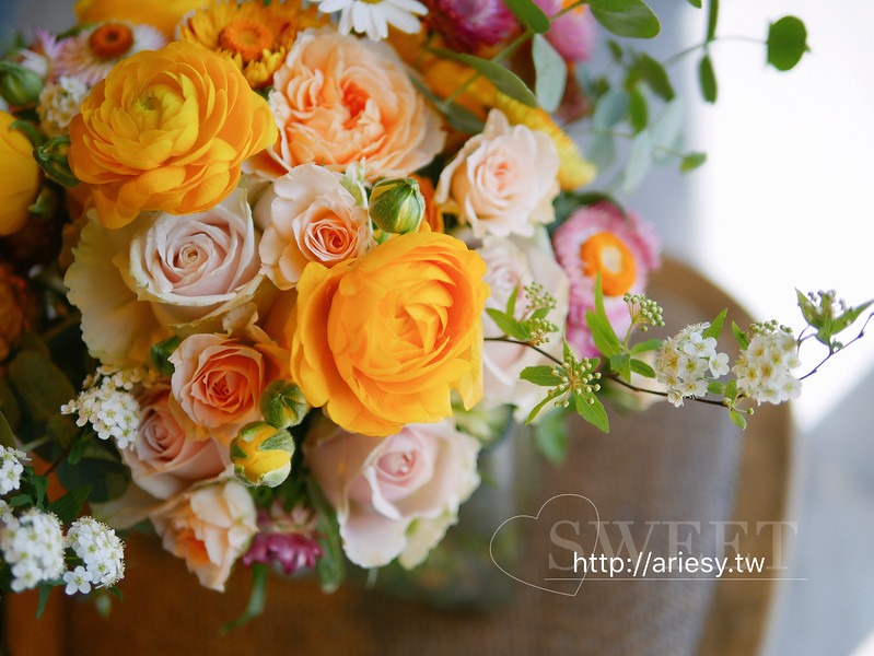 瑪格麗特,麥桿菊,泰摩拉玫瑰,陸蓮,新娘捧花,bouquet,愛瑞思ARIESY