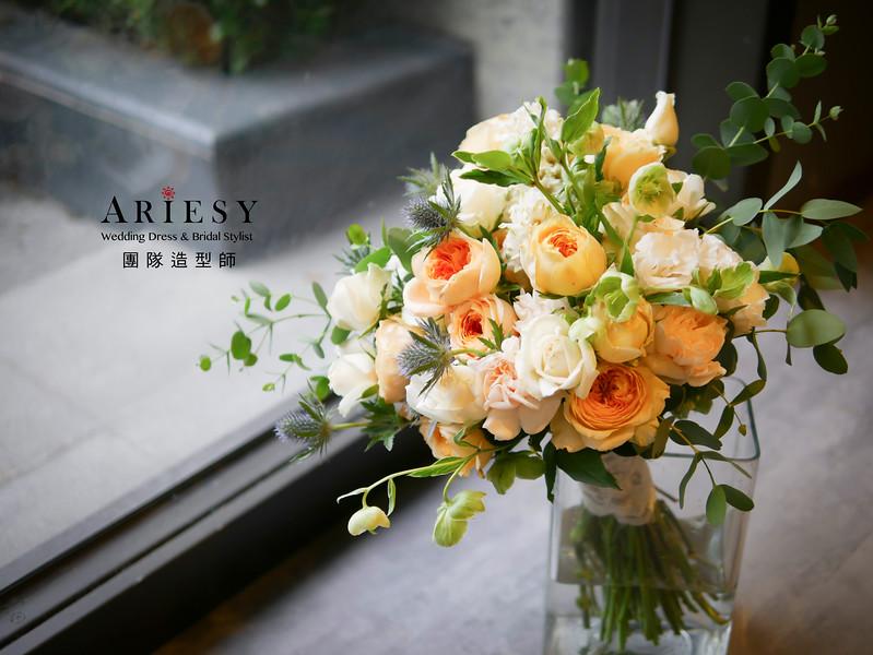 新娘捧花,鮮花新祕,宴客手作捧花,客製化鮮花捧花,美式婚宴捧花