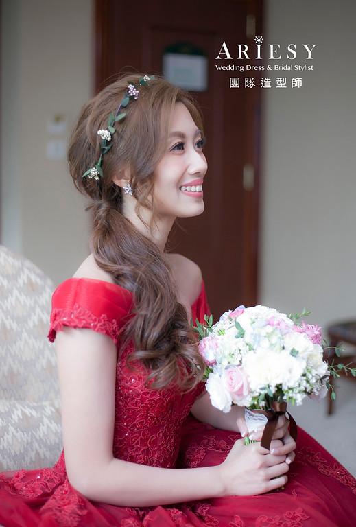 送客造型,編髮造型,新娘髮型,新祕,新娘造型,新娘秘書,紅色禮服