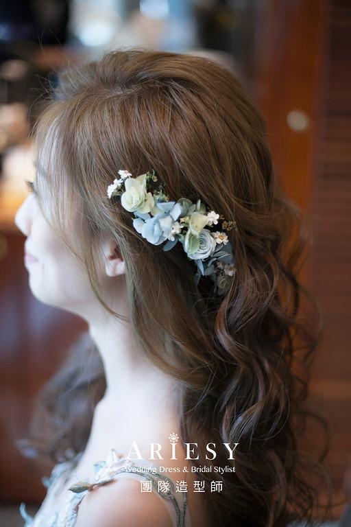 敬酒造型,放髮造型,新娘髮型,新祕,新娘造型,新娘秘書,花藝飾品