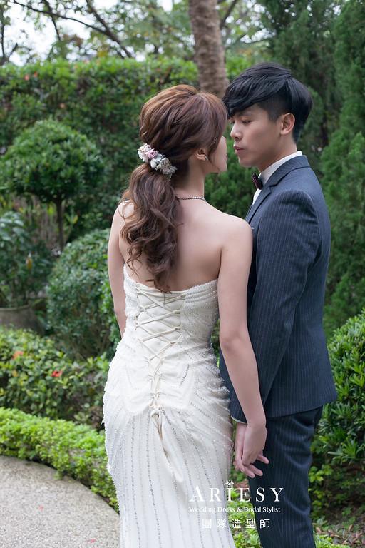 白紗造型,編髮造型,新娘秘書,新娘造型,低馬尾造型,新祕,花藝飾品