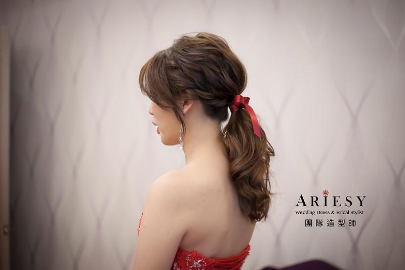 敬酒造型,編髮造型,新娘祕書,新娘造型,新祕,低馬尾造型,清透妝感