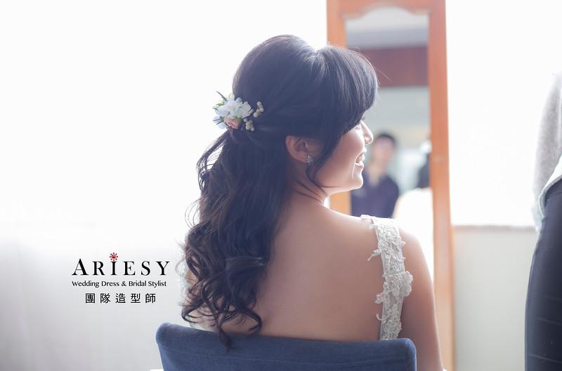 黑髮新娘造型,編髮造型,新娘祕書,新娘髮型,新祕,花藝飾品,清透妝感