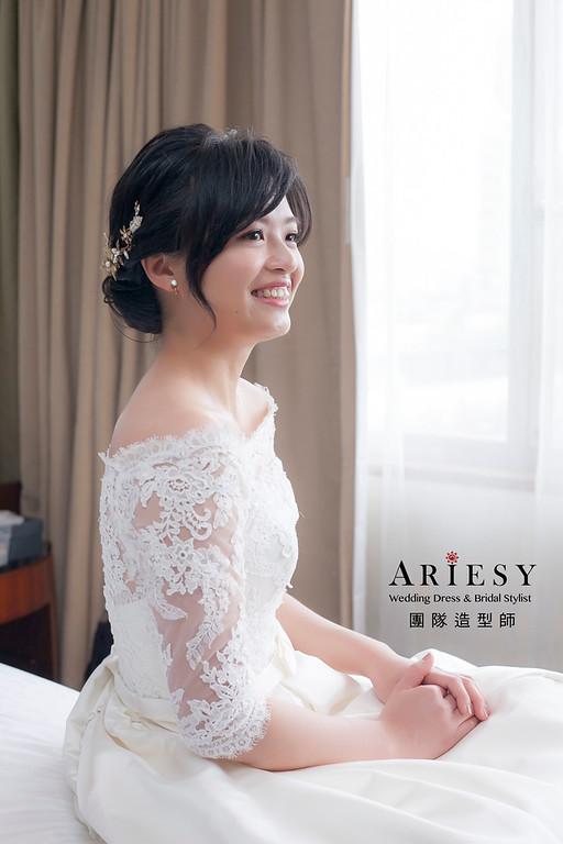 白紗造型,編髮造型,新娘髮型,新祕,黑髮新娘造型,清透妝感,新娘秘書