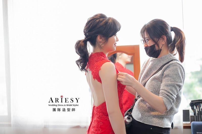 黑髮新娘造型,編髮造型,新娘髮型,新祕,馬尾造型,紅禮服造型,新娘秘書