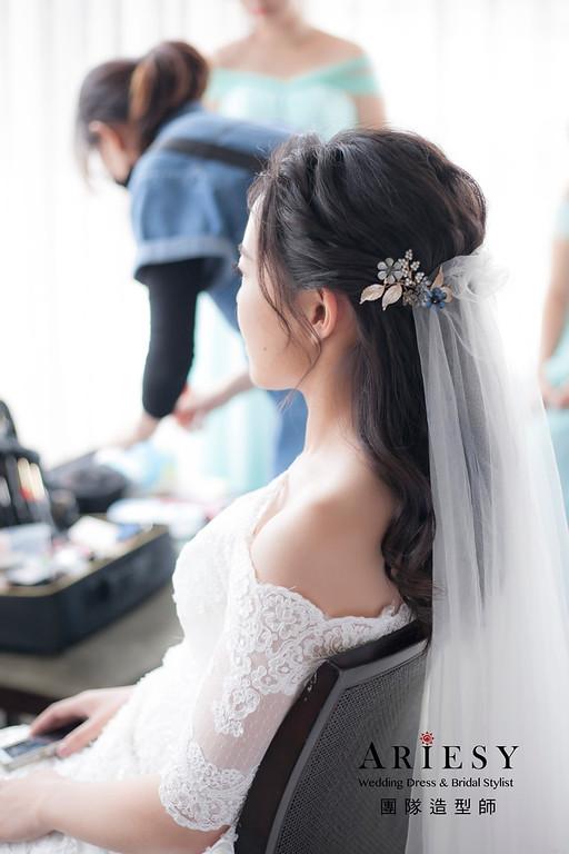 白紗造型,編髮造型,新娘髮型,新祕,放髮造型,鮮花新娘造型,美式類婚紗,黑髮新娘造型