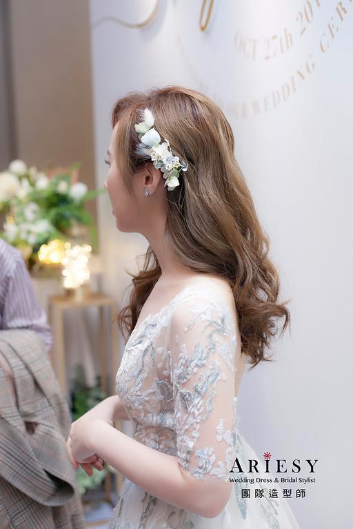 送客造型,蓬鬆放髮造型,新娘造型,花藝手作頭飾,新祕,新娘祕書