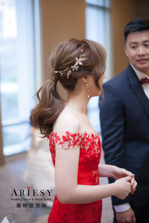 敬酒造型,蓬鬆編髮造型,新娘祕書,新娘造型,台北新祕,馬尾造型
