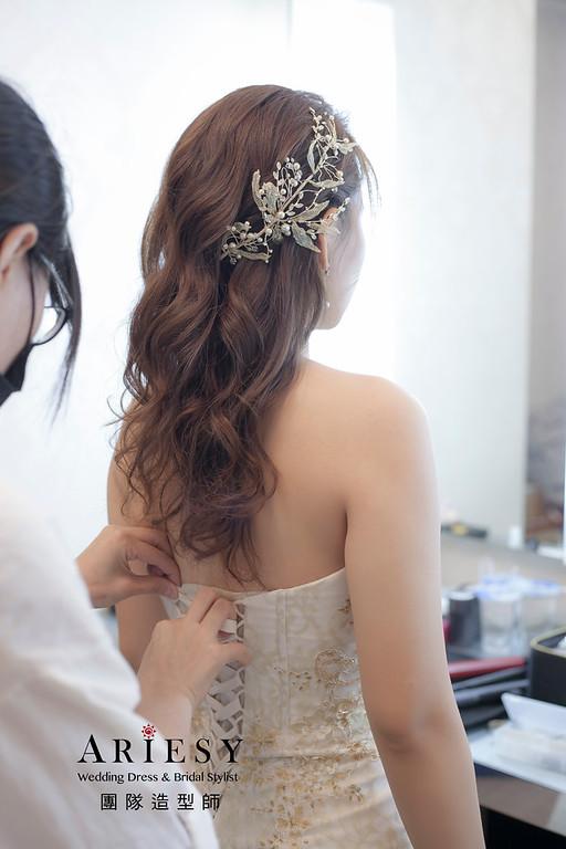 送客造型,放髮造型,新娘造型,新祕,新娘祕書,浪漫捲髮造型,魚尾禮服
