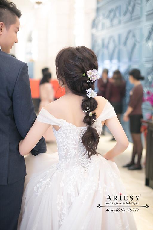 新娘秘書,中部新秘,愛瑞思,ariesy,新秘推薦,類白紗鮮花新娘造型